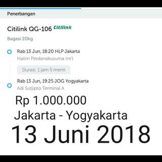 Tiket pesawat mudik jakarta - Yogyakarta