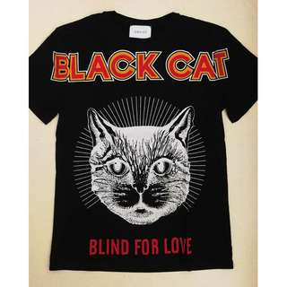 "Gucci black cat ""Blind For Love""cotton t-shirt. 2 colours available."