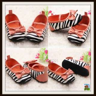 Zebra Black & White Coral Pre-walker Girl's Shoes Soft Soles