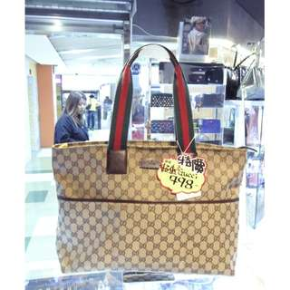 Gucci GG Logo Monogram Brown Canvas Shoulder Shopping Tote Hand Bag 古馳 啡色 帆布 手挽袋 手袋 肩袋 袋 購物袋