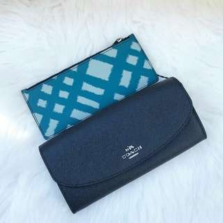 Readystock. Authentic Coach Slim Wallet in Blue Multi
