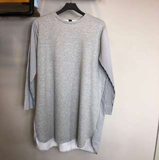 正韓灰色拼接直條紋長袖刷絨長版oversize 文青休閒孕婦洋裝上衣