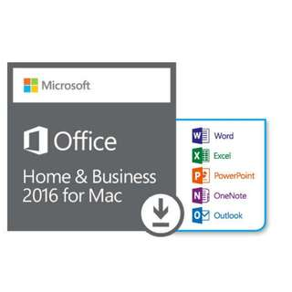 全新原裝正版 Microsoft Office 2016 Home & business for Mac 家用及商業版 OEM軟件 key 中英文, 一用戶