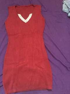Dress merah mini