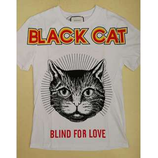 "Gucci black cat ""Blind For Love"" cotton t-shirt. 2 colours available."