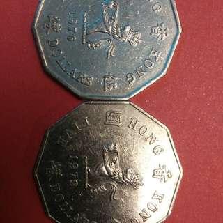 1976,1979香港伍圓各一只