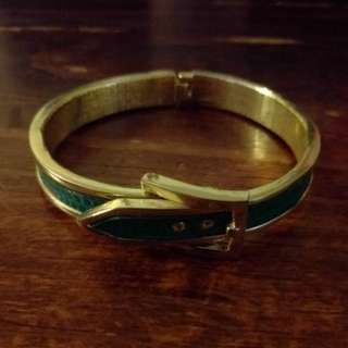Green Leather Buckle Bracelet