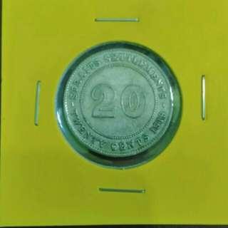 20 Cents Straits Settlements 1919