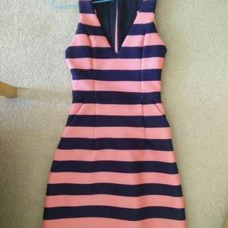 Kookai pink/ blue stripped dress