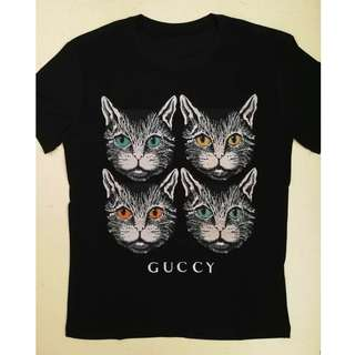 Gucci Four Heads black cats cotton t-shirt. 2 colours available.