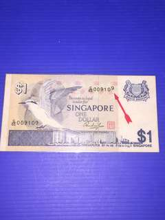 🈹Singapore Bird Series $1 Error : Last Digit 9 Shifted up ! Laminated Note !💥Clearance💥