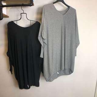 正韓黑色灰色長袖寬版大碼孕婦媽媽懶人文青oversize 洋裝上衣
