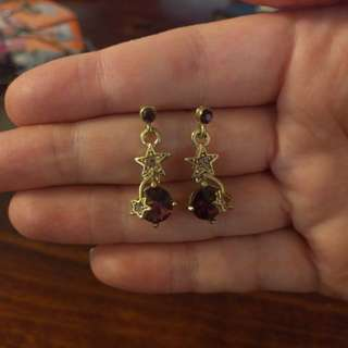 Purple Star Drop Earrings