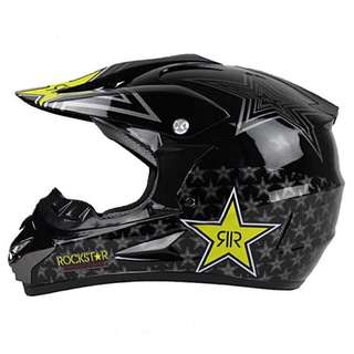 Gloss Black Rockstar Full Face Motorcycle Helmet Scrambler Motorcross Motocross Scrambler Off Road Dirt Bike