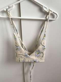 Camp cove beige daisy print bikini top