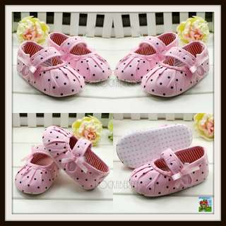 Mothercare Light Pink Polka Girl's Shoes - Soft Soles