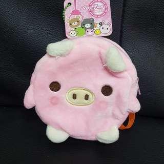 可愛小豬絨毛背包錢包