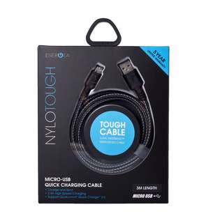 Energea Nylotough 3m Micro USB Charging Cable Fast Samsung