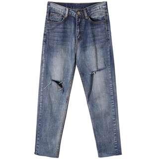 超好褲型 春季時髦復古破洞錐型九分牛仔褲