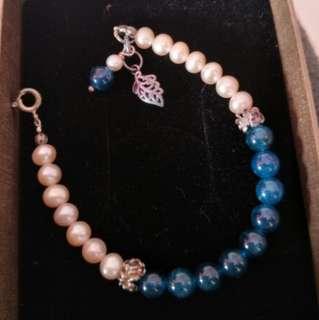 收藏級 巴西磷灰石 天然珍珠 手鍊 手珠