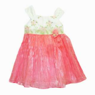 Bonnie Embroidered Floral White Pink Pleated Girls Dress