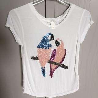 H&M 亮片鸚鵡上衣