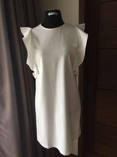 Mango white shift dress with ruffle sleeves