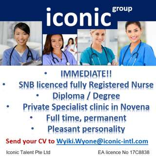 SNB licenced registered nurse - specialist clinic in Novena