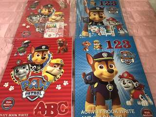 Instock Paw Patrol activity ABC/123 and Coloring Stickers Book Brand New one book-$4 buy set w crayon is $4.90