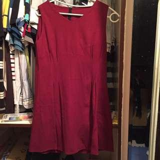 紅色無袖洋裝