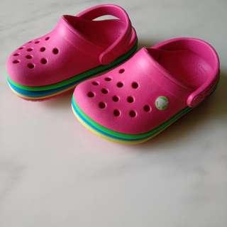 Crocs Candy Pink Crocband™ Rainbow Band Clogs Shoes