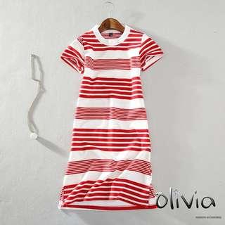 全新 - 韓版新款時尚休閒橫紅白條紋T恤紅色短袖長版衣 連衣裙 洋裝 - 尺寸請看詳述