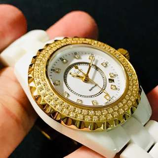 Elegant White & Gold Ceramic Watch, Japan Made