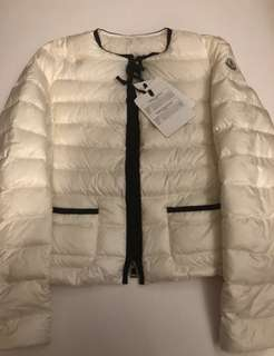 Moncler pearl white down jacket