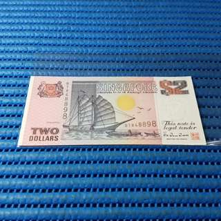 848898 Singapore Ship Series $2 Note BT 848898 Nice Prosperity Number Dollar Banknote Currency ( 8 Head 8 Tail ) HTT