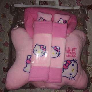 NEW!!! Bantal set mobil motif Hello Kitty full set sarung kotak tissue, 2 sarung seat belt, 2 bantal leher