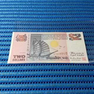 848848 Singapore Ship Series $2 Note BT 848848 Nice Radar Prosperity Number Dollar Banknote Currency ( 8 Head 8 Tail ) HTT