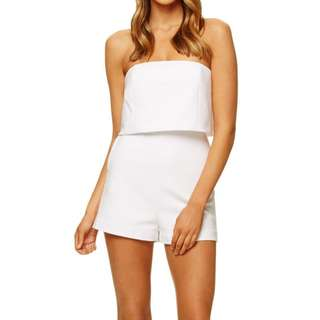 KOOKAI 'Taylor playsuit' white, strapless, structured, size 8 (38) RRP $180