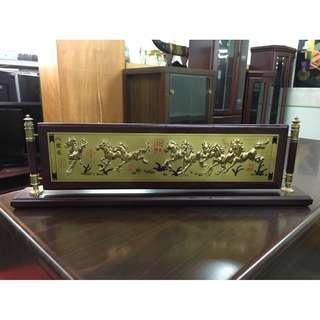 非凡二手家具 八駿圖 浮雕桌上型匾額*實木匾額*木製品*收藏品