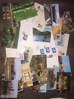舊名信片20張及首日封9個半賣半送