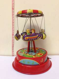 Schylling 懷舊鐵皮玩具 旋轉火箭 古董收藏品 兒時回憶 Rocket Ride Carousel