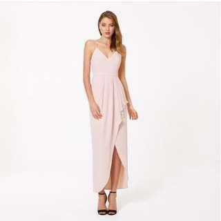 Treslovechic peach pink tulip wrap maxi dress