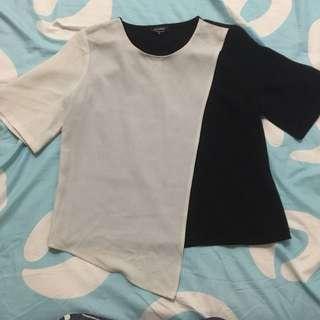 Zalora B&W Color Block Asymmetrical top