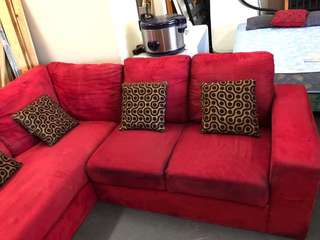 L shaped sofa Red