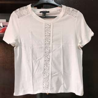Forever 21 White Shirt with lace details