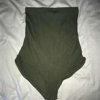 Khaki Strapless Bodysuit