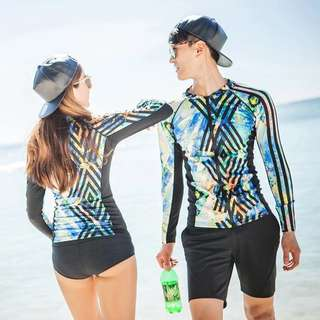 Couple Geometric Print Zip Rashguard Women's 3 Piece Men's 2 Piece Long Sleeve Swim Wear