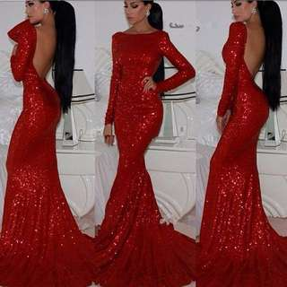 BACKLESS RED SEQUIN FORMAL DRESS