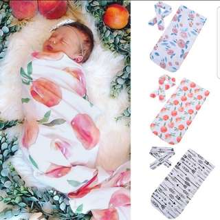 ❤INSTOCK❤ Baby Swaddle with Headband Set