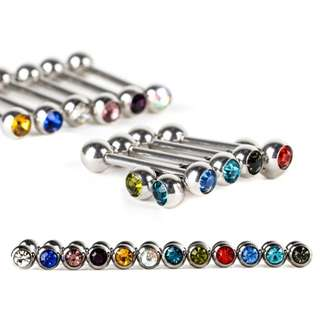 Crystal Tongue Nipple Bar Ring Barbell Piercing Body Jewelry Stainless Steel Pole Body Jewelry